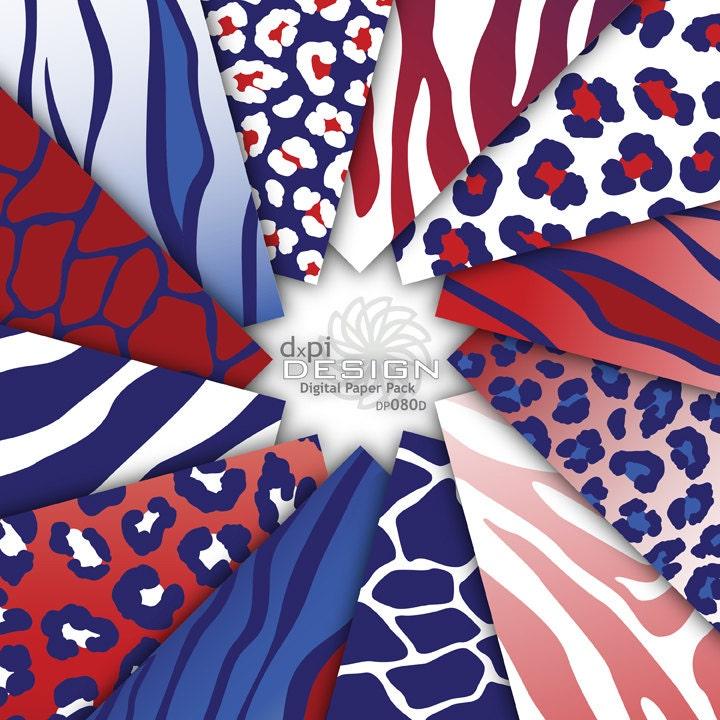 Red, White & Blue Animal Prints