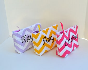 Set of 3 Monogrammed Chevron Cosmetic Bag Zipper Pouch Make Up Bag for Bridal Party