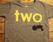 Tractor shirt perfect for farm truck or tractor party boys birthday shirt custom  organic blend yellow black