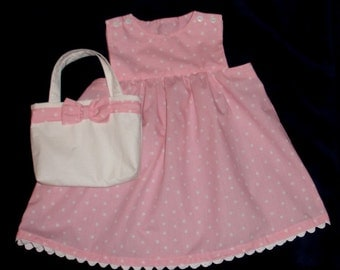 Pretty Pink and White Polka Dot  Dress with Matching Purse - Toddler Girl Size 2T