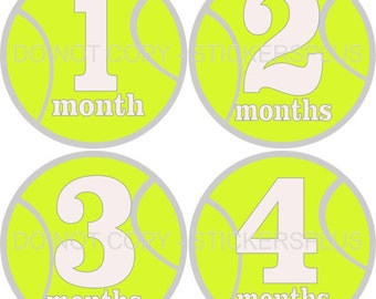 Baby Month Stickers Monthly Baby Milestone Photo Prop Stickers Sports Tennis Balls Neutral Boy or Girl 1-12 Months Baby Gift