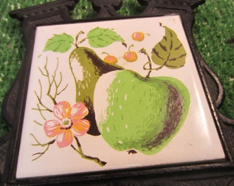 Vintage Mid Century Mod Cast Iron tile trivet apple pear cherry blossom made in Japan kitschy kitchen wall hanging whimsical