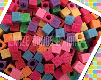 NEW Style 100 Candy Color Cube Alphabet Letter Big hole Beads fit Loom Rubber bands Bracelet Craft