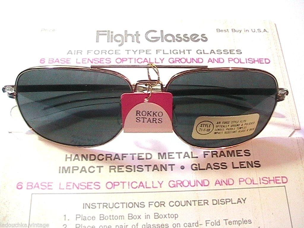 1970s Mens Sunglasses 1970s Men Air Force Flight Sunglasses Black Lenses Made in Japan