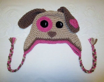 Tan and Raspberry Puppy Crocheted Hat - Photo Prop - Available in Any Size or Color Combination