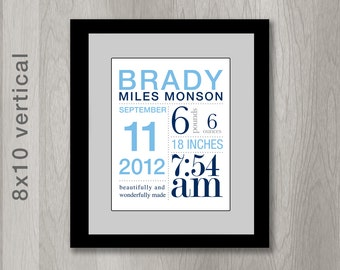 Custom Birth Announcement Print with Birth Stats - You choose colors (8x10 inches) Baby Boy or Baby Girl