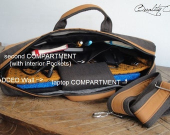 Add an extra Padded COMPARTMENT on your laptop bag and interior Pockets