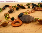 50% off ALL MST GO Olive Green & Copper Extra Long Necklace