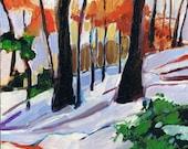 Winter Landscape, Original Painting, Expressionist Art, Snow Scene Woods