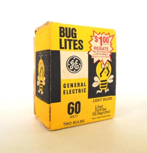 Ge Bug Lite Vintage Yellow Light Bulbs 60 Watt Incandescent