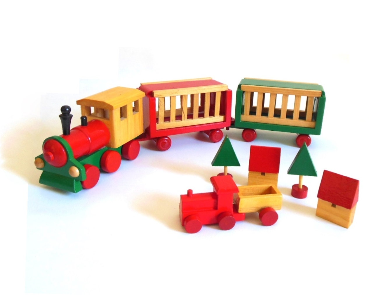 Wooden toy train christmas decoration steam locomotive red