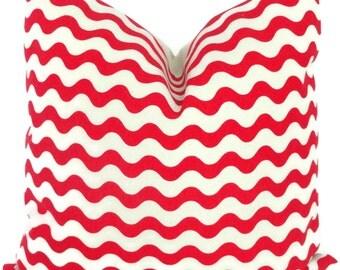 Studio Bon Red Ric Rac Decorative Pillow Cover 18x18, 20x20, or Lumbar pillow, Accent Pillow, Throw Pillow, Cushion
