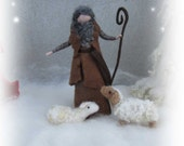 Needle felted and wet felted shepered with one sheep  for the Nativity Set Size B felted