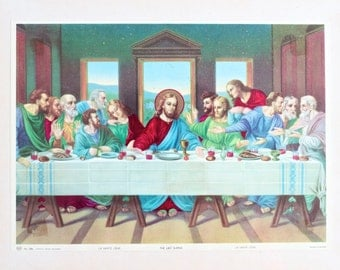 The Last Supper - Vintage Framed Jesus Print - Printed in England - Home Decor