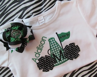 Megaphone and Pom Pom Shirt and Matching Bow-Made to Match School Colors