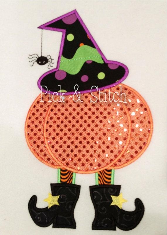witch pumpkin girls halloween applique design machine