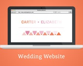 Custom Wedding Website - Triangles, ombre, gradient, modern pattern, online rsvp, photos, customization