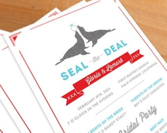 Wedding Programs Digital File Seal the Deal, coordinating design, seal, circus, zoo, animals, funky
