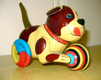 Vintage Tin Push and Go Dog Beijing Toy No. 1 Factory