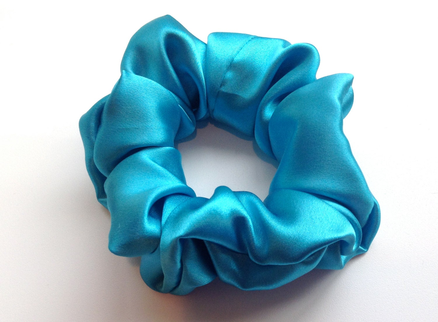 Pure Silk Hair Scrunchie Teal Charmeuse Small Regular And