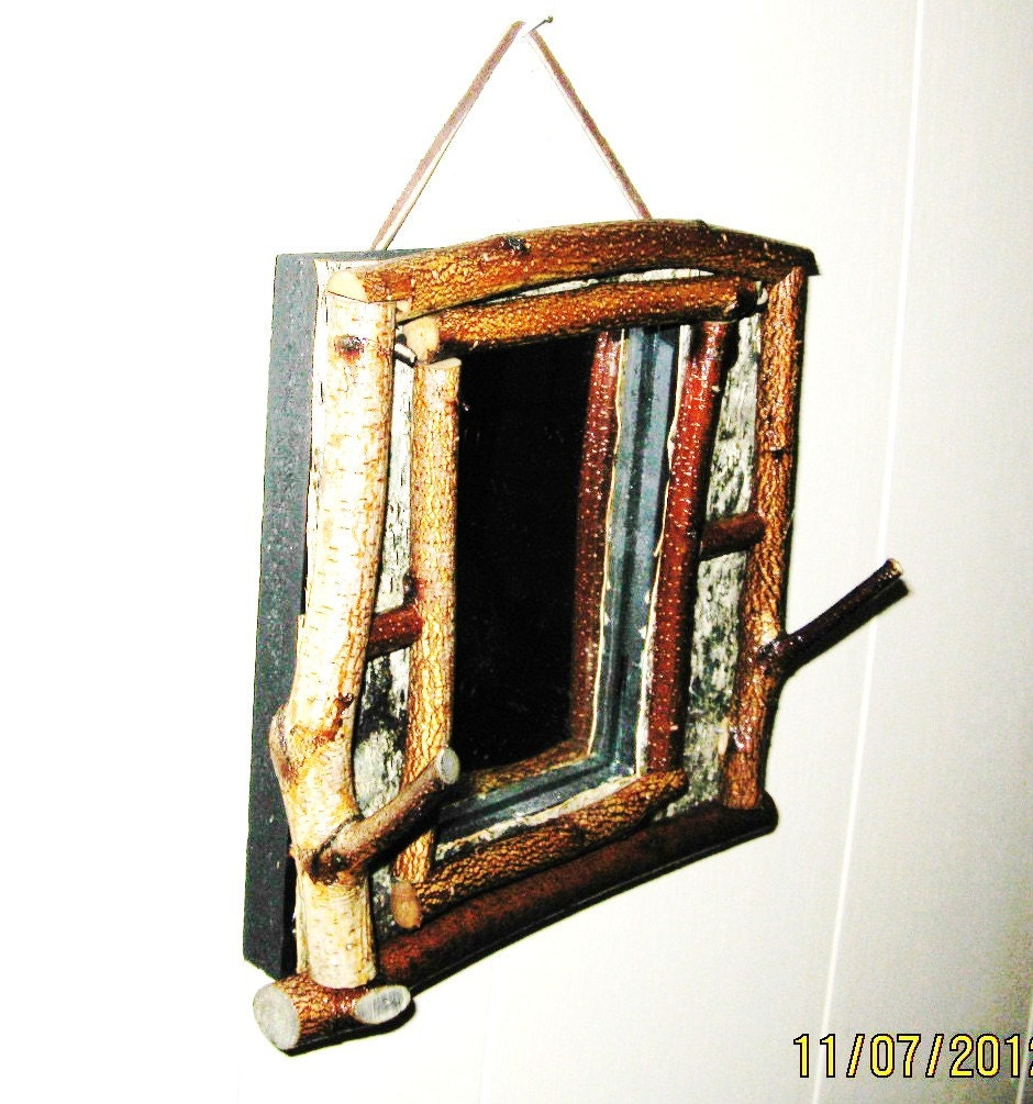 Rustic Mirror W Rustic Bark And Twig Hooks For Jewelry