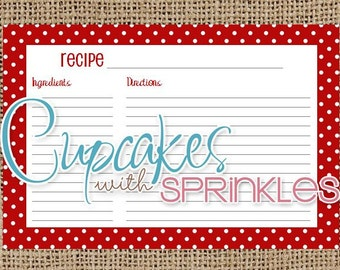 Printable Recipe Card Red and White Polka Dot