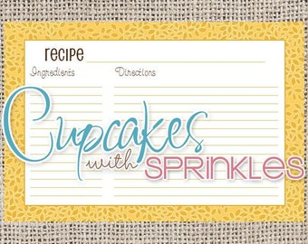 Printable Recipe Card Yellow and Brown