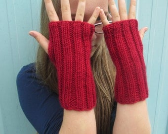 Arm Sox - cranberry red - wrist warmers, texting mittens, fingerless gloves.
