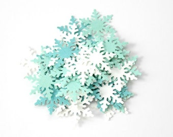 Small Snowflake Die Cuts - Snowflake Confetti - Frozen Birthday Party - Mint White Snowflake Cutouts - Winter Table Decor