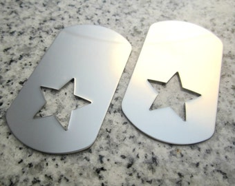 """1 1/8"""" x 2"""" (29mm x 51mm) Star Hole Dog Tag Stamping Blank, 22g Stainless Steel - AWESOME Silver Alternative STDT09-16"""