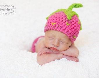 Strawberry Crochet PATTERN - Strawberry Shortcake Beanie & Leg Warmers - PDF pattern newborn baby photo prop hat baby girl outfit