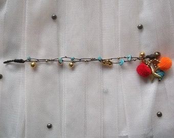 2 in 1 Turquoise Bracelet pom pom gold brass bells- Handmade Wax String Thailand - FAIR TRADE Handmade Jewelry Autumn trends  by Nannapatt