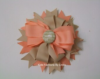 Tan/Salmon  Hairbow with Button Center