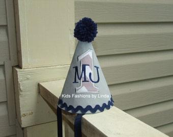 Grey/Navy Birthday Ric Rac Hat