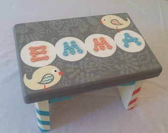 Custom Painted Little Girl's Step-Stool - Birds / Chevron Stripes / Coral and Turquoise