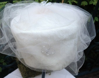1960s White Lace and Tulle Cap Style Hat with Butterfly Accent Perfect Wedding Hat