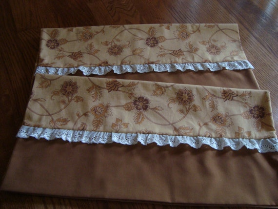 Decorative King Size Pillowcases : Pair of Decorative king size pillow cases in shades of brown