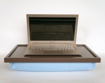 Laptop Tray, Breakfast Tray or Serving Tray- Greyish brown with light blue pillow