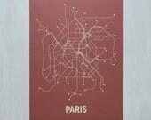 Paris Screen Print - Red/Tan