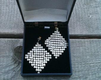Slinky Hollywood Glam Rhinestone Post Earrings for Pierced Ears,