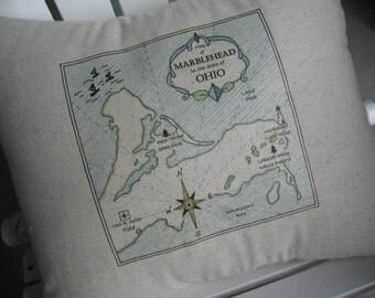 Marblehead, Ohio, Great Lakes, Vintage Maps, Fathers Day, Abundant Haven, Handmade, Nautical Pillows, Blue Pillows, Beach Decor, Lake Erie