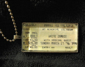 White Zombie, 1996 - Concert ticket stub necklace or keychain