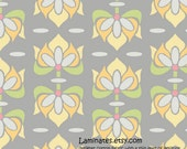 LAMINATED cotton fabric by the yard - Priscilla floral gray yardage (aka oilcloth, coated vinyl slicker fabric)
