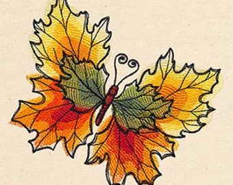 Painted Autumn Leaves Butterfly Embroidered Flour Sack Hand/Dish Towel