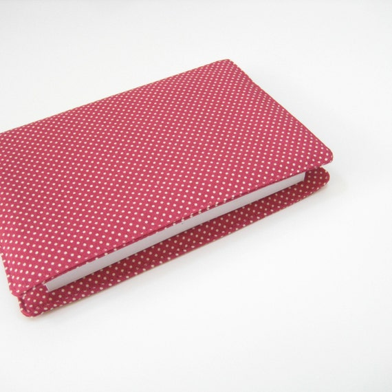 2013 2014 Diary academic year, gift idea for her fuchsia pink white polka dot fabric cover, 2014 day planner, Week in View A6 diary