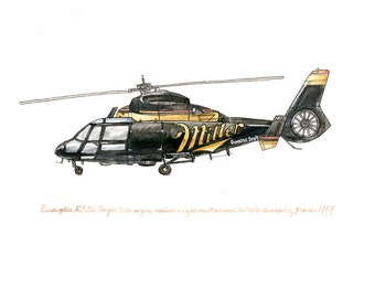"Eurocopter Cougar, Aviation watercolor print, 8x10"""