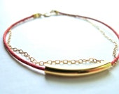 Tiny gold bar friendship bracelet - red wax cord and gold filled chain