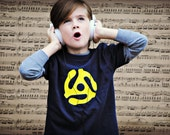 45 adapter, old school music kids t-shirt