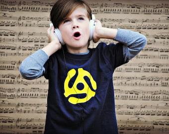 45 adapter, old school music kids t-shirt
