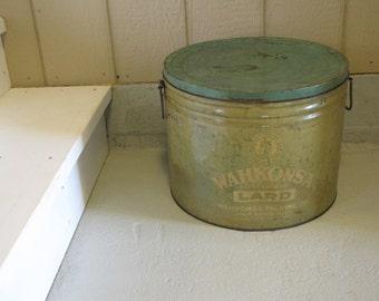 Vintage Mustard and Green Wahkonsa Lard Metal Large Tin with handles